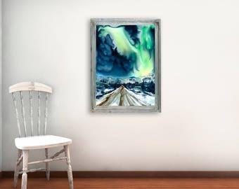Aurora Borealis - Original Watercolor Painting on Yupo