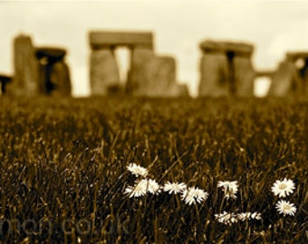 "Henge Daisies - Stonehenge Limited Edition digital art print A4 8.3"" x 11.7"""
