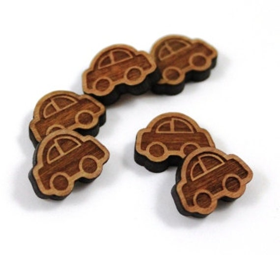 Laser Cut Supplies-8 Pieces.Car Charms - Laser Cut Wood Car -Earring Supplies- Little Laser Lab Sustainable Wood Products