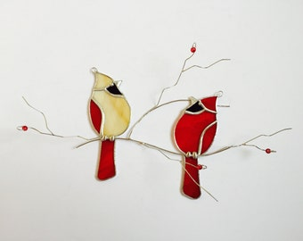 Cardinal pair stained glass sun catcher on 3 dimentional branch with red glass berries.