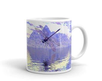 Mug Dragonfly Reflections Mug, Dragonfly Mug, Dragonfly over Water, Dragonfly