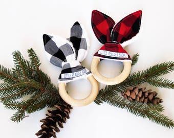 Bunny Teether Bunny Ear Teether Teething Ring Lovie Wooden Teether Baby Christmas Stocking Stuffer Bunny Teething Ring Baby Christmas Gift