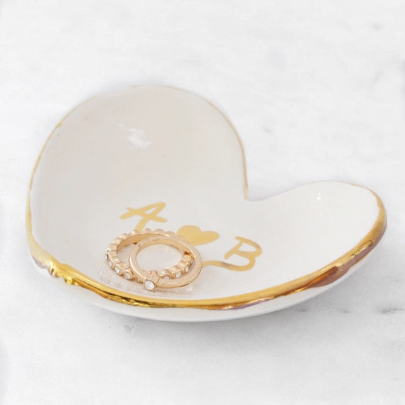 Personalized Heart Jewelry Dish 22k Gold Initials Heart Dish For Jewelry or Anything Else MADE TO ORDER