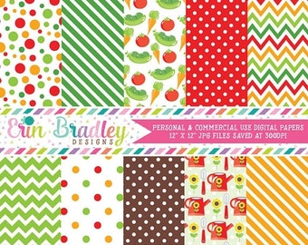 80% OFF SALE Garden Digital Paper Pack with Veggies Vegetables Polka Dots Chevron and Stripes Red Green Orange Brown Commercial Use Graphics