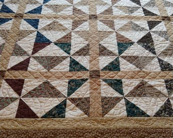 Handmade Homemade Traditional Pieced Patchwork Cotton Tan Brown Gold Twin Throw Lap Robe Quilt