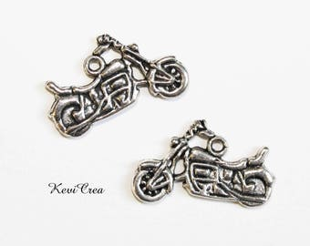 5 x silver motorcycle charms