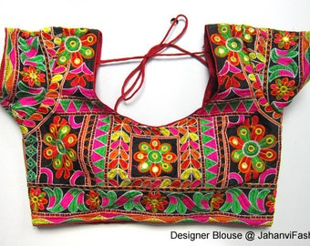 Colorful Embroidery Blouse with stitching - Sari Blouse - Saree Blouse - Sari Top - For Women - Designer saree Blouse - Designer Blouse