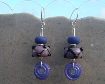 Lampwork Harlequins with Artisan Swirled Disk Bead Earrings