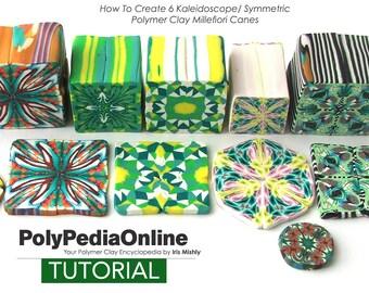 Polymer Clay Tutorial, PDF Tutorial, Kaleidoscope, Symmetric, Polymer Clay Beads, Fimo, Millefiori Cane, DIY Polymer, Polymer Clay Canes