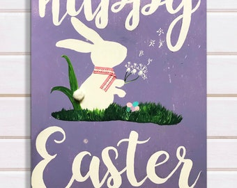 Happy Easter Bunny Sign Decor