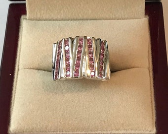 Vintage Sterling Silver Pink Ice Crystal Ring Size 6