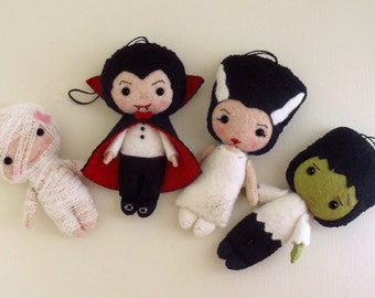 Halloween Ornaments - Dracula, Frankenstein, Bride, Mummy pdf Patterns - Instant Download