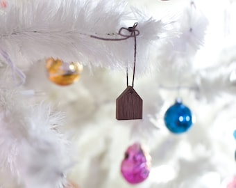 Tiny House Ornament - Holiday Decor Small Wooden House Home is Where the Heart Is Ornament String Walnut Wood Handmade