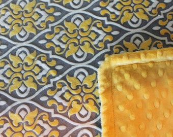 Minky Blanket - Yellow and Grey Trellis Minky with Yellow Dimple Dot Minky Backing - lush baby blanket. Larger sizes available