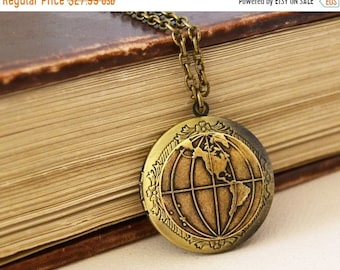SALE World Globe Locket, Vintage Brass Locket, Antique Brass Locket, Vintage Photo Locket, World Traveler Locket Necklace