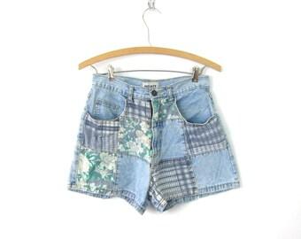 80s Blue Jean Shorts High Waist Floral patchwork Denim Shorts Vintage 1980s MOM Shorts Faded Flower Shorts Boho Womens  26 inch waist Small