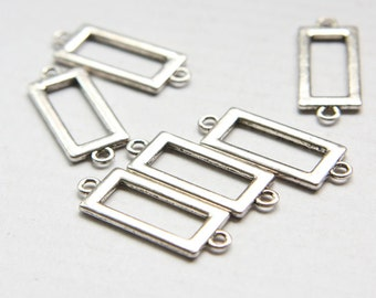 12pcs Oxidized Silver Tone Base Metal Link - Rectangle 30x12mm (25672Y-O-54A)
