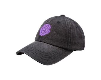 Purple Rose Dad Hat - Black Denim