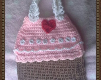 Handmade Crochet Little Girls Cupcake Handbag
