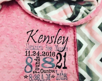 Custom minky Embroidered personalized blanket in dimple dot hot pink/pink, grey chevron.