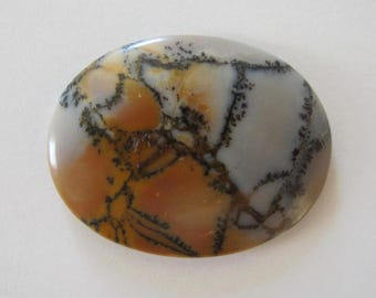Large oval Amethyst Sage agate designer cabochon in browns, greys, white. 35 x 45 mm. Dendritic features 123L0023