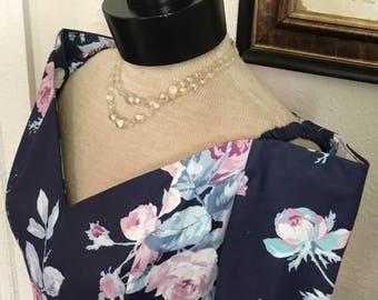 80's Vintage Blue Floral Dress