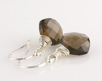 Smokey Topaz Checkerboard Faceted Earrings