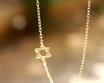 Star of David Necklace - Gold Sideways Jewish Star of David Necklace. jewish jewelry, magen david necklace.
