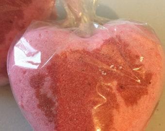Red Hot Heart Bath Bomb Cinnamon Vanilla Shea Butter and Coconut oil