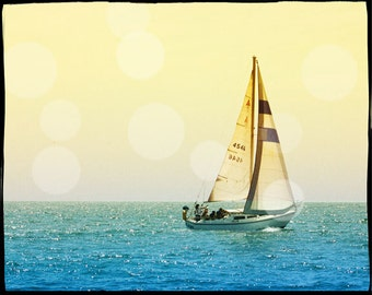 Sailing Photography, Sailboat Photography, Ocean Photography, Retro Sailing Art Print, Gift Idea Men