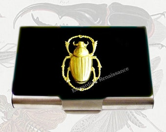 Large Business Card Case Egyptian Scarab Beetle Inlaid in  Hand Painted Enamel Black Onyx Custom COlors and Personalized Options