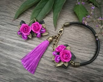 Purple roses jewelry set,bracelet,roses earrings,roses bracelet.