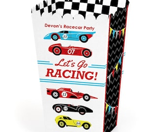 Let's Go Racing - Racecar - Popcorn Boxes (12 Pack) - Movie Theatre Style Personalized Treat Box - Race Car Party & Birthday Favor Boxes