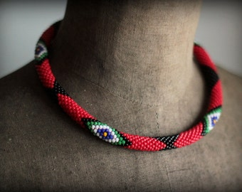 Red and Black Zulu Inspired Necklace, African Style Necklace, Red Beadwork Necklace, Tribal Necklace, Ethnic Necklace