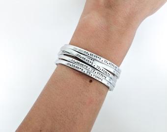Personalized Dainty Coordinate Bracelet // Custom Hand Stamped + Coordinate Jewelry + Best Friend + Friendship Bracelets + Bridesmaid Gifts