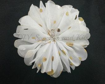 White gold polka dot chiffon flower - 2.5 inch fabric flower - Ballerina ruffle flower - White flowers - Hair flower - Appliqué flower
