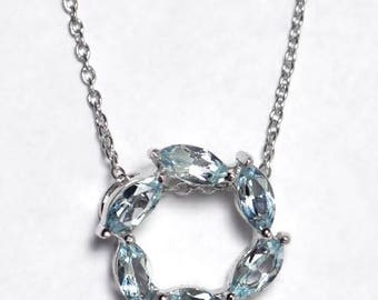 Womens Blue Topaz Gemstone Circle of Love Round Pendant Necklace Sterling Silver 18 inch