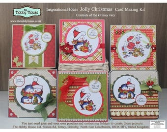 Jolly Christmas Card Making Kit - Make 6 unique Christmas cards