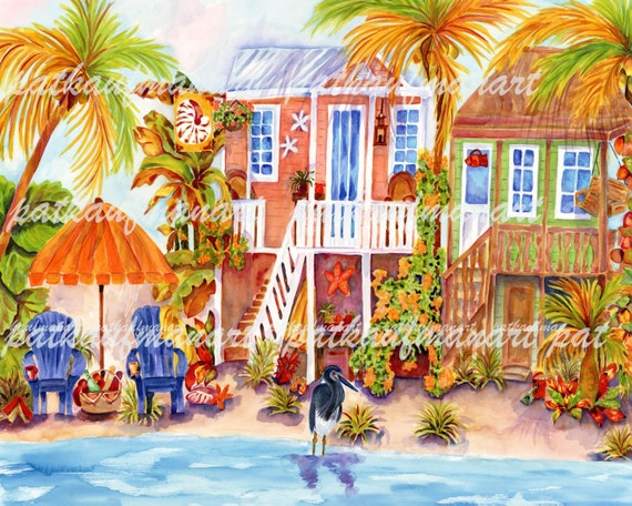 Florida Art Watercolor Tropical Painting Island Cottage I
