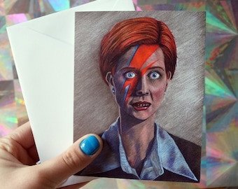 GROUND CONTROL to MIRANDA Hobbes card, Cynthia Nixon card, David Bowie card, sex and the city, ziggy stardust, feminist card, lgbtq