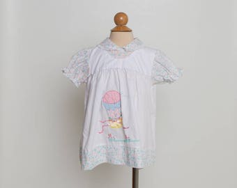 vintage 80s toddler dress with hot air balloon bunny rabbit