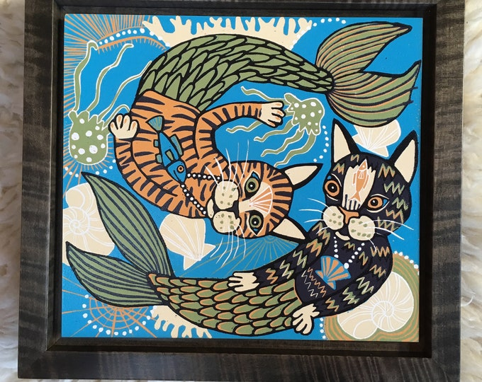 Mermaid | Cat woodcut framed in solid tiger maple wood