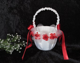 Wedding Basket, Wedding Flower Girl Baske, White Satin with Red Rosebuds and Satin Ribbon.