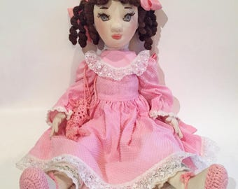 Vintage Soft Sculpture Cloth Doll with Embroidery Detail on Face-Free Shipping