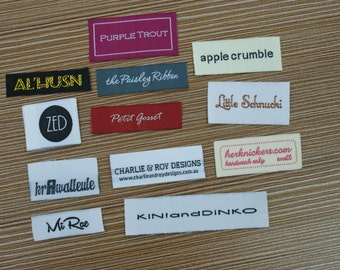 300 Custom Text Only Taffeta Clothing Woven Labels free font styles colors never fade professional quality free design service and shipping
