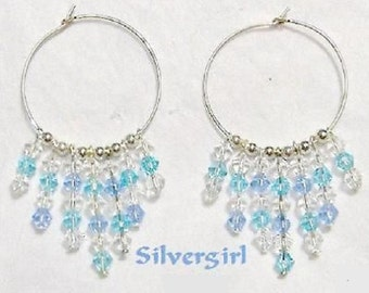 "1 1/2"" Hoop Dangle Earrings Blue Rain"