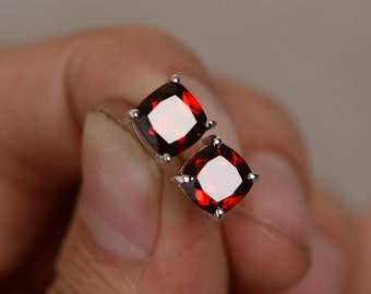 Natural Garnet Earrings Stud 7mm Cushion Cut Red Garnet January Birthstone Earrings Red Gemstone
