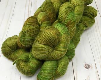 Hand Dyed Yarn on Merino cashmere Nylon MCN Green brown tonal - Camo
