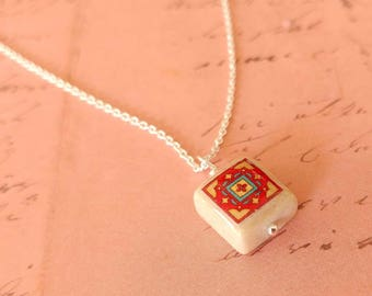 Tiny Brick Red and Green Catalina Tile on Sterling Silver, Spanish, Mexican, Catalina Island Tile, Inspired, Aqua Blue Glass Necklace
