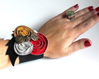 Wrist Corsage Zipper Rosettes - Mustard, Cherry Red, Gray and Black Elastic Cuff